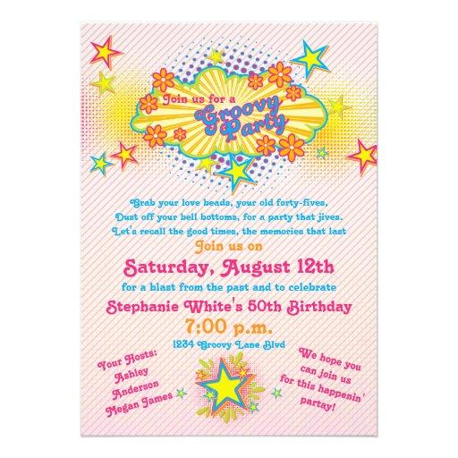 70s Theme Groovy Flower Power 50th Birthday Party Custom Invite