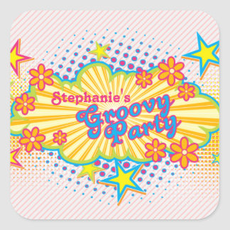 70s Theme Groovy Flower Power Personalized Party Sticker