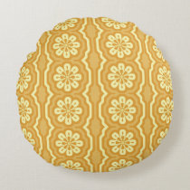 70s yellow pattern Round Round Cushion