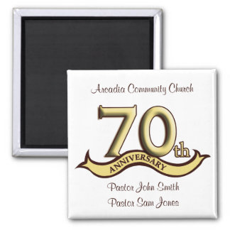 70th Anniversary Party Favors Square Magnet