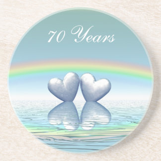 70th Anniversary Platinum Hearts Coaster