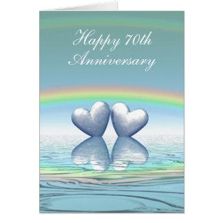 70th Anniversary Platinum Hearts Greeting Card