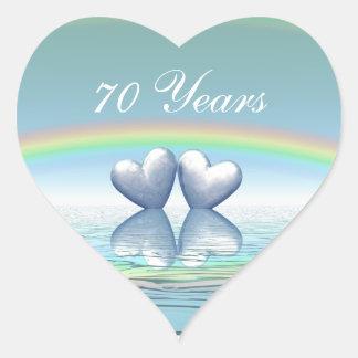 70th Anniversary Platinum Hearts Heart Sticker