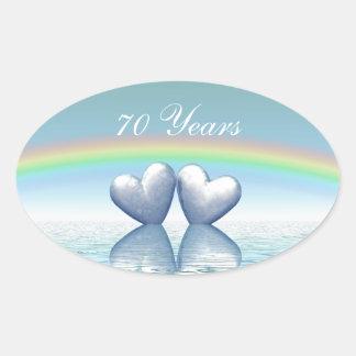 70th Anniversary Platinum Hearts Oval Sticker