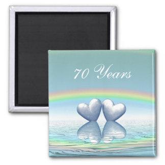70th Anniversary Platinum Hearts Square Magnet