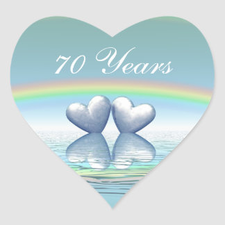 70th Anniversary Platinum Hearts Heart Stickers