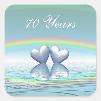 70th Anniversary Platinum Hearts Square Sticker