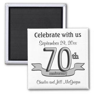 70th Anniversary Save The Date Party Favors Square Magnet
