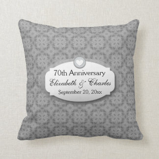 70th Anniversary Wedding Anniversary Platinum Z03 Cushion