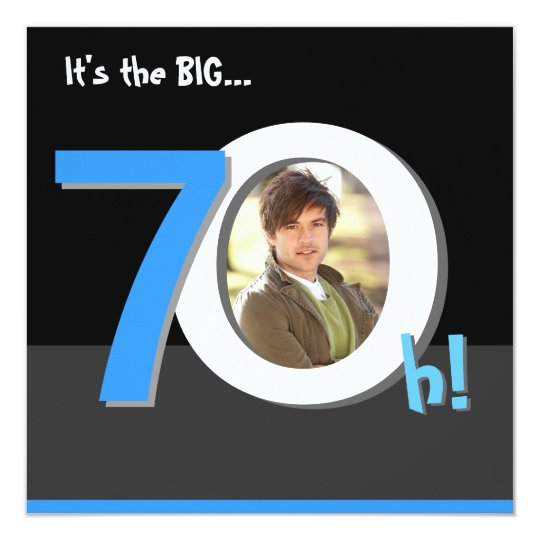 70th Big 7Oh! Photo Template Birthday Party Card