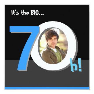 70th Big 7Oh! Photo Template Birthday Party 13 Cm X 13 Cm Square Invitation Card