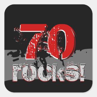 70th Birthday - 70 Rocks! Grunge Red and Black Sticker
