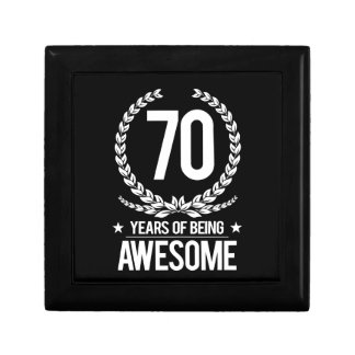 70th Birthday (70 Years Of Being Awesome) Small Square Gift Box