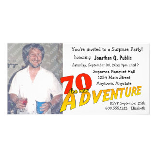 70th Birthday Adventure Party Photo Invitation Customised Photo Card