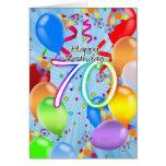 70th Birthday - Balloon Birthday Card - Happy Birt
