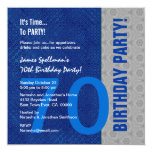 70th Birthday Blue and Silver Pattern Recycled 13 Cm X 13 Cm Square Invitation Card