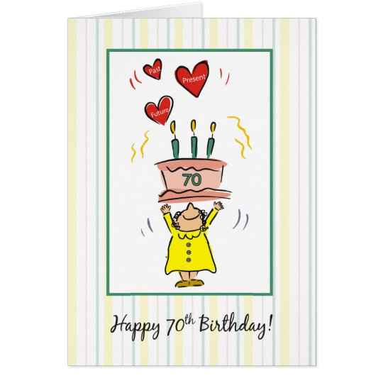 70th Birthday Cake and Hearts for Woman Card