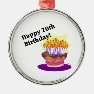 70th Birthday Cake Silver-Colored Round Decoration