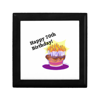 70th Birthday Cake Small Square Gift Box