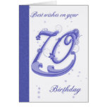 70th Birthday Card, best wishes Greeting Card