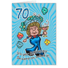70th Birthday Card - Fun Lady With Glass Of Wine