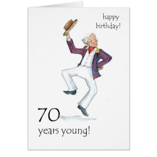 70th Birthday Card - Man Dancing!