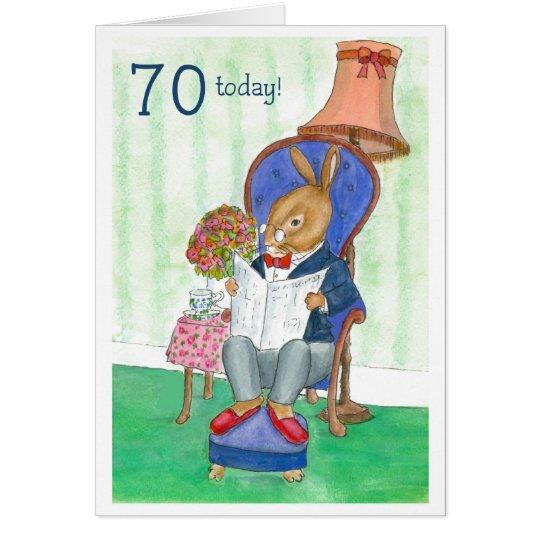 70th Birthday Card - Mr Rabbit
