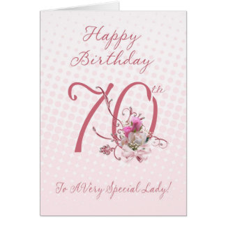 70th Birthday Card - Pink Roses - To A Very Specia
