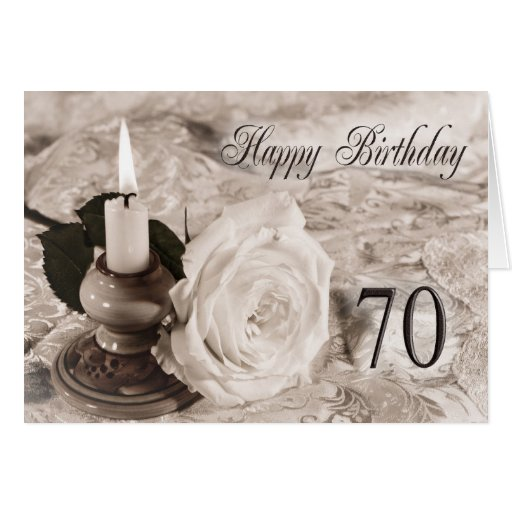 70th Birthday card with an antique rose