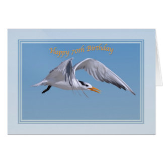 70th Birthday Card with Royal Tern Bird