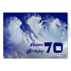 70th birthday card with wild white surf horses