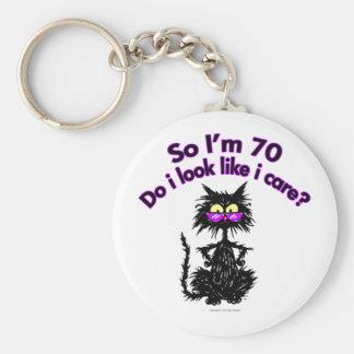 70th Birthday Cat Gifts Key Ring