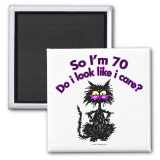 70th Birthday Cat Gifts Square Magnet