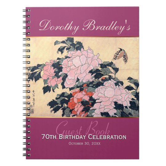 70th Birthday Celebration Butterfly Peonies Guest Note Books