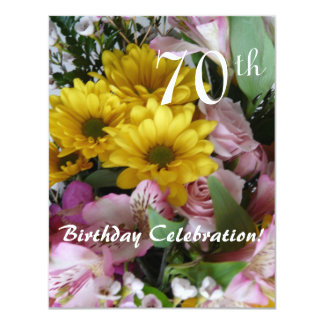 70th Birthday Celebration!-Party/Floral Bouquet 11 Cm X 14 Cm Invitation Card