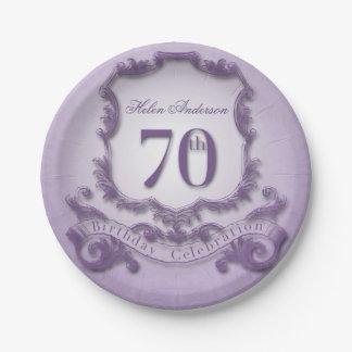 70th Birthday Celebration Vintage Frame 7 Inch Paper Plate