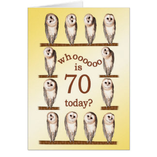 70th birthday, Curious owls card. Card