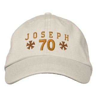 70th Birthday Custom GOLD Embroidery H70A Embroidered Baseball Caps