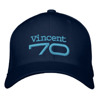 70th Birthday Custom Name BLUE Embroidery A03 Embroidered Baseball Cap