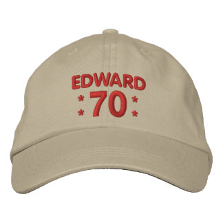 70th Birthday Custom Name KHAKI and RED H70D Embroidered Cap