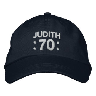 70th Birthday Custom Name NAVY and WHITE H70F Embroidered Baseball Caps