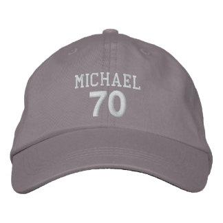 70th Birthday Custom Name WHITE Embroidery V01DA Baseball Cap