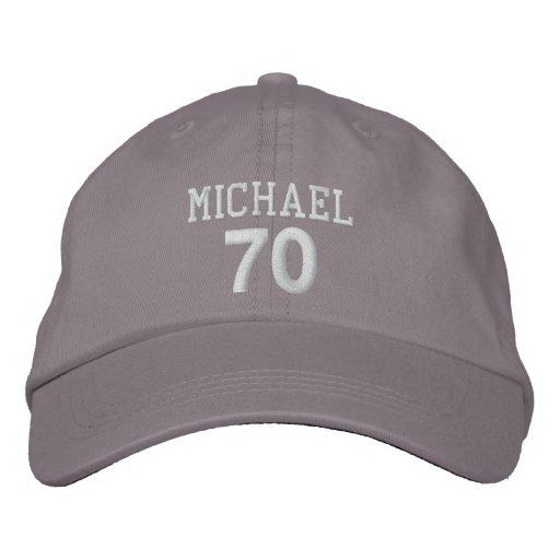 70th Birthday Custom Name WHITE Embroidery V01DA Baseball