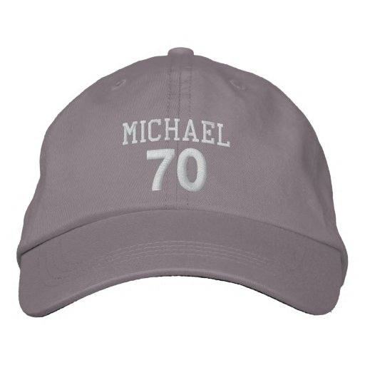 70th Birthday Custom Name WHITE Embroidery V01DA Embroidered
