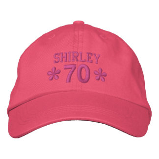 70th Birthday Custom PINK Embroidery H70C Embroidered Baseball Caps