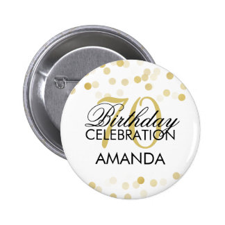 70th Birthday Faux Gold Foil Glitter Lights 6 Cm Round Badge