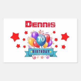70th Birthday Festive Colorful Balloons C01FZ Rectangle Sticker