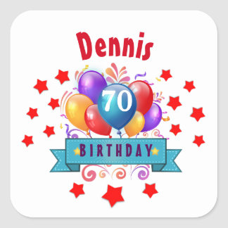 70th Birthday Festive Colorful Balloons C01FZ Square Stickers