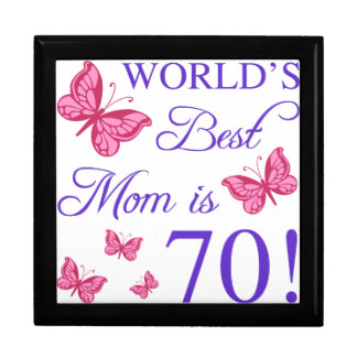 70th Birthday For Mom Large Square Gift Box