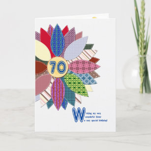 70th Birthday For Sister Stitched Flower Card